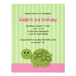 Turtle Kids Pink Green Birthday Invitations
