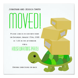 Turtle Moving Boxes Housewarming Party Invitation