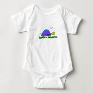 """Turtle on Cell Phone """"Mom I'll Be Late for Dinner"""" Baby Bodysuit"""