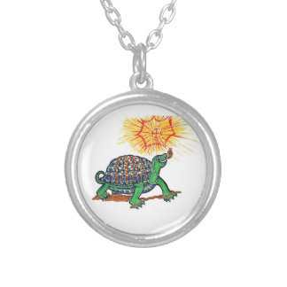 Turtle on silver plated chain round pendant necklace