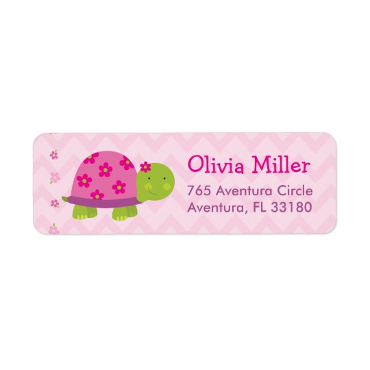 Turtle Pink Personalised BabyShower Address Labels