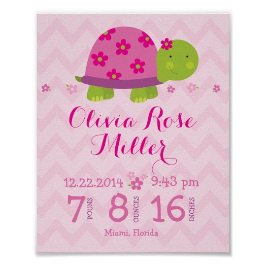 Turtle Pink Personalised Birth Stats Announcement Poster