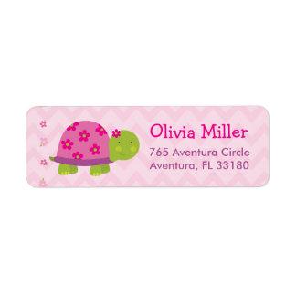 Turtle Pink Personalized BabyShower Address Labels