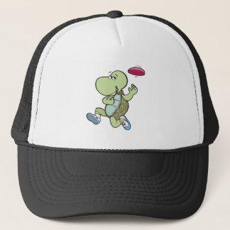 turtle playing frisbee trucker hat