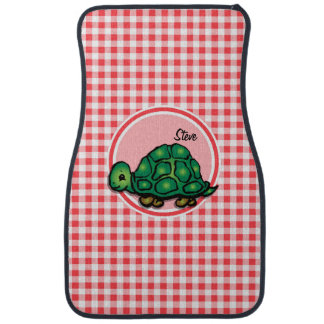 Turtle; Red and White Gingham Car Mat