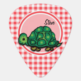 Turtle; Red and White Gingham Guitar Pick