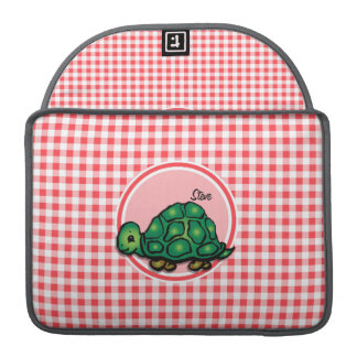 Turtle; Red and White Gingham Sleeve For MacBooks
