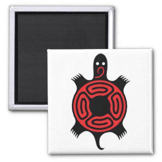 Turtle Red & Black Square Magnet
