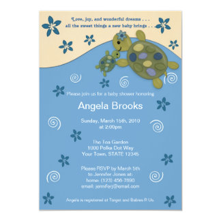 Turtle Reef Baby Shower Invitation TRC Blue Green