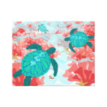 Turtle Reef Print - Coral, Starfish, Clown fish Stretched Canvas Print