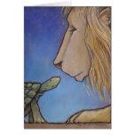 turtle regards lion greeting card