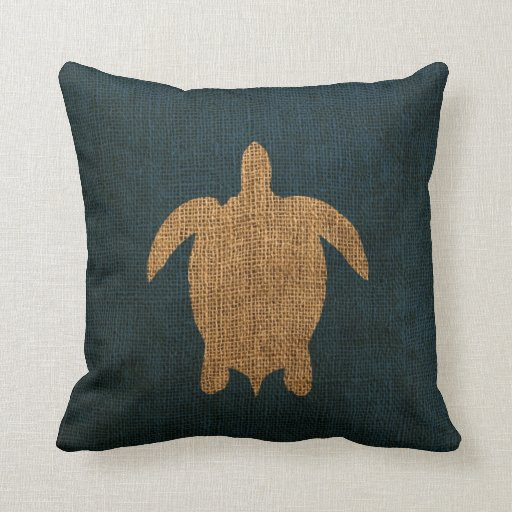 Turtle Rustic Blue Throw Pillow Zazzle