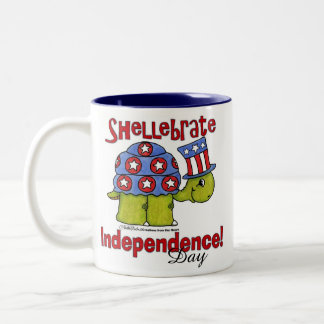 Turtle Shellebrate Independence Day! Two-Tone Coffee Mug
