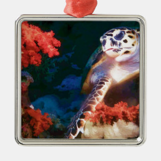 Turtle Silver-Colored Square Decoration
