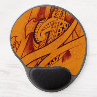 turtle sketch design with spearheads on orange gel mousepad