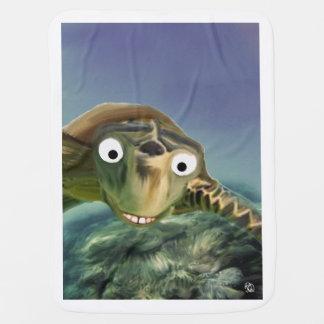 Turtle swimming under the sea stroller blanket
