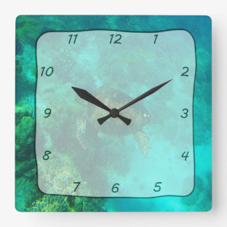 Turtle Swimming Under Water Square Clock