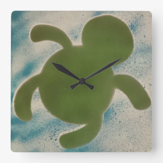 Turtle Time Square Wall Clock