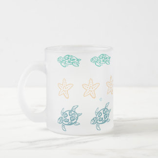 Turtle treasures frosted glass coffee mug