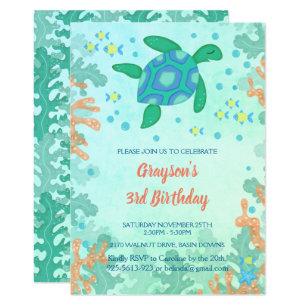Sea turtle birthday invitations zazzle uk turtle under the sea birthday invitations filmwisefo