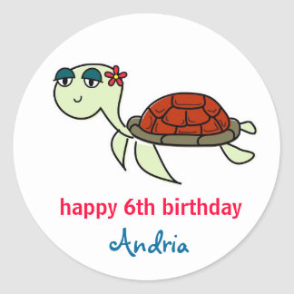 Turtle, Under the Sea Cupcake Toppers Classic Round Sticker