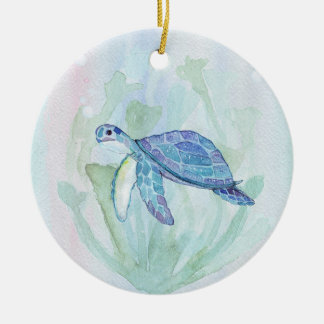 TURTLE WATERCOLOR PASTEL PERSONALIZED Ornament