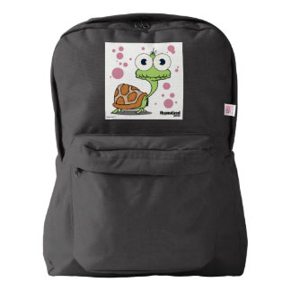 Turtle(White Background) Backpack, Black Backpack