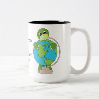 Turtle with a Globe Teacher's Coffee Mug