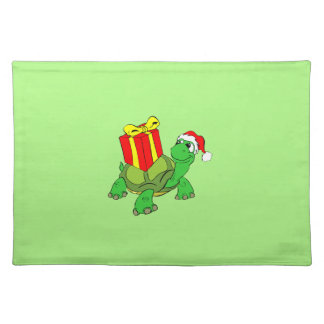 Turtle with Gift Christmas Cloth Placemat