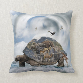 Turtle World Animals Throw Pillow