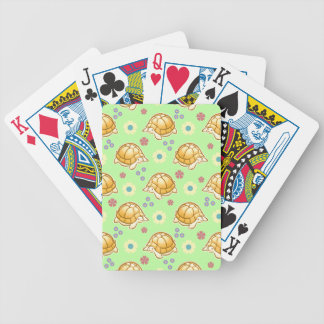 Turtles and Spring Flowers Pattern Bicycle Playing Cards