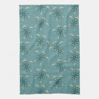 turtles background tea towel