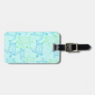 Turtles Blue Luggage Tag w/ leather strap