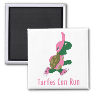 Turtles Can Run Square Magnet