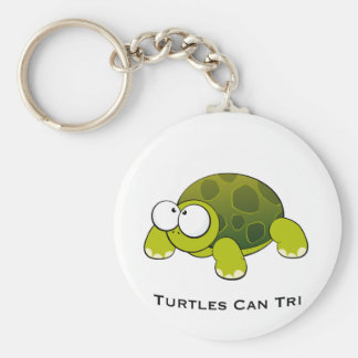 Turtles Can Tri Basic Round Button Key Ring