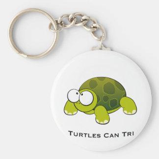 Turtles Can Tri Basic Round Button Key Ring