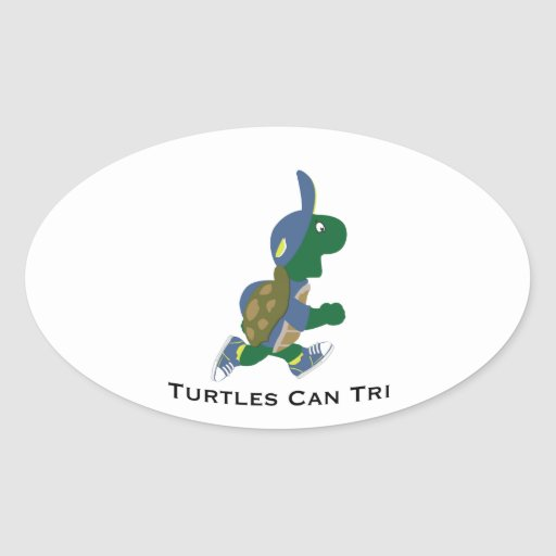 Turtles Can Tri Oval Stickers