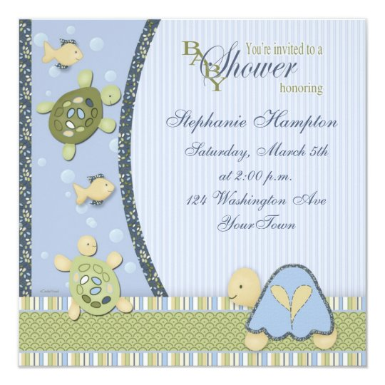 Turtles in Blue and Green Baby Shower Invitation