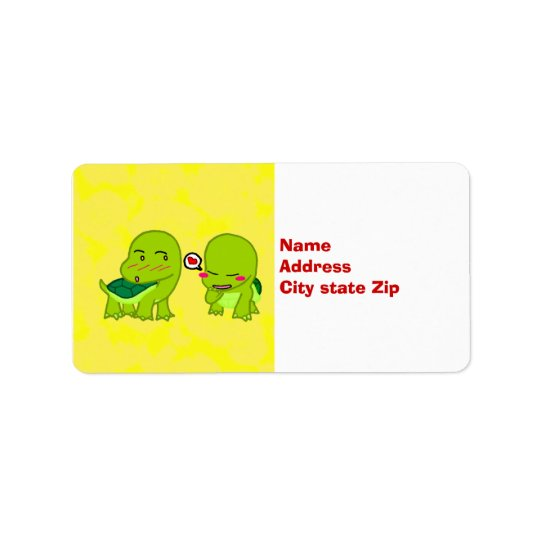 Turtles in love address label