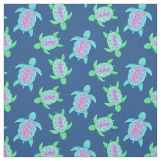 Turtles in water watercolor art pattern fabric