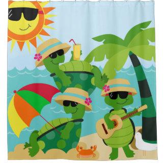 Turtles Summer Beach Party Cute Kids Shower Curtain