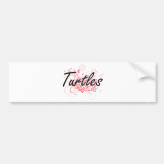 Turtles with flowers background bumper sticker