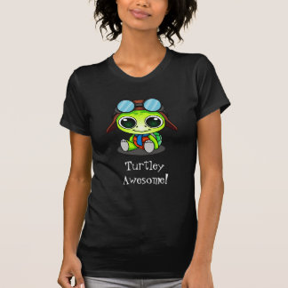 Turtley Awesome Cute Cartoon Turtle in Aviator Hat T-Shirt