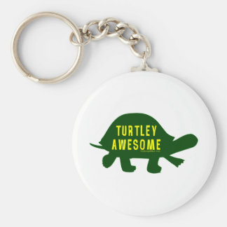 Turtley Totally Awesome Basic Round Button Key Ring