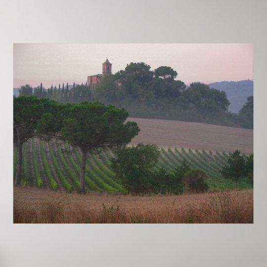 Tuscan Chapel Sunrise Poster