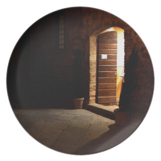 Tuscan doorway at night party plates
