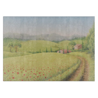 Tuscan Farmhouse, Italy in Pastel Chopping Board