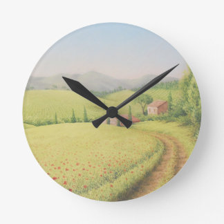 Tuscan Farmhouse, Italy in Pastel Clock