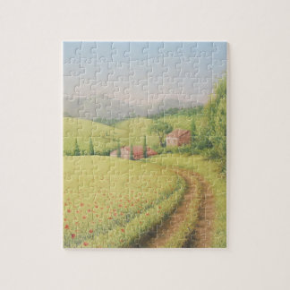 Tuscan Farmhouse, Italy in Pastel Jigsaw Puzzle