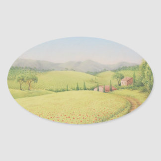 Tuscan Farmhouse, Italy in Pastel Oval Stickers